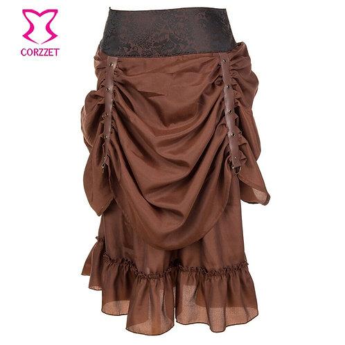 Brown Asymmetrical Ruffles Women Steampunk Clothing