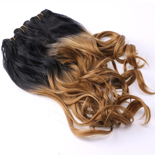 Black to Golden Ombre Wavy Hair Bundles Synthetic Hair