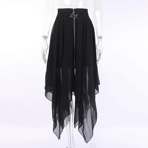 Black Star Zipper Decoration Asymmetrical Mesh Long Gothic