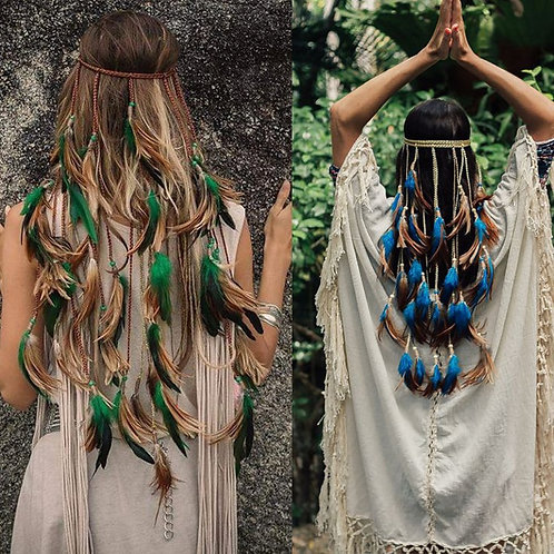 AWAYTR Feather Rope Crown  2020 Hair Band Boho