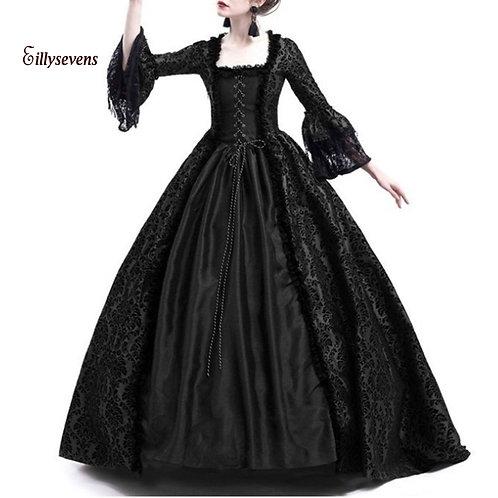 Black Victorian Gothic Dresses Lace Patchwork Gothic Black