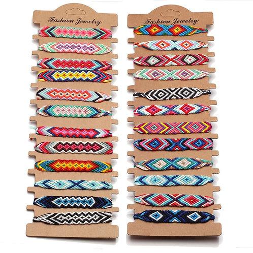 Boho Short Multithread Colored Woven Friendship Bracelet