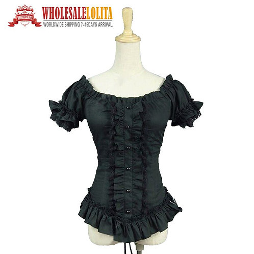 Black Victorian Gothic Steampunk Punk Fitted Ruched Wiccan