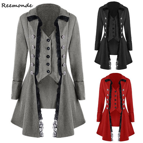 Adult Women Victorian Costumes Black Red Tuxedo Tailcoat