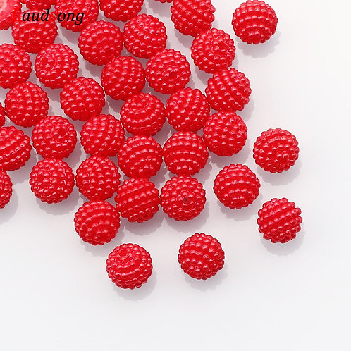 50/100pcs 10mm Mixed Color Bayberry Acrylic Beads