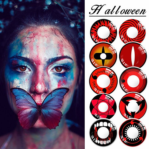 1 Pair (2pcs) Crazy Lens Halloween Red Black Color Contact