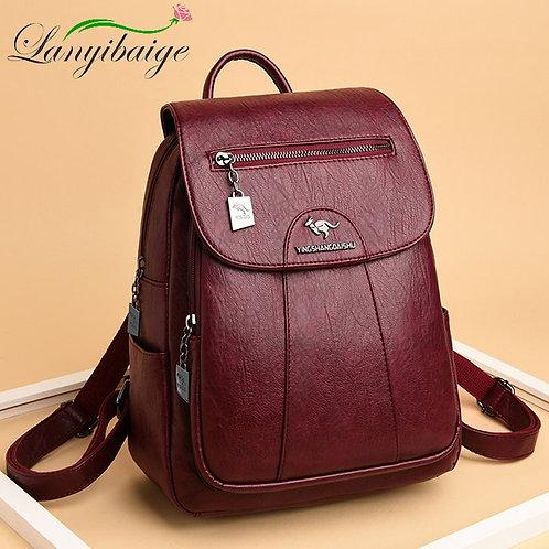 5 Color Women Soft Leather Backpacks Vintage
