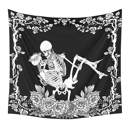 1pc Halloween Themed Mandala Skull Printed Tapestry