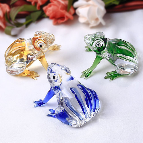 1 Piece Cute Frog Crystal Figurines Miniatures Glass
