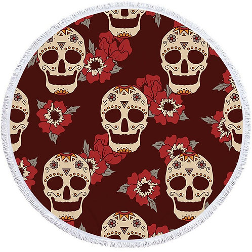 150cm Large Bath Towel for Beach Thick Round 3d Skull