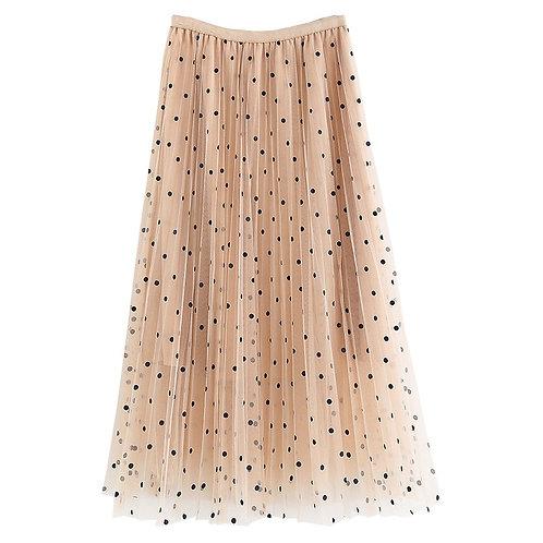 2020 New Spring Summer Ladies Polka Dot Long Skirt High Waist