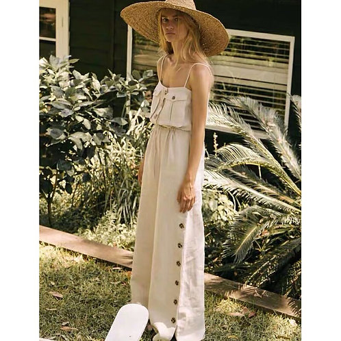 BOHO INSPIRED JUMPSUIT Buttons Relaxed Wide Pant