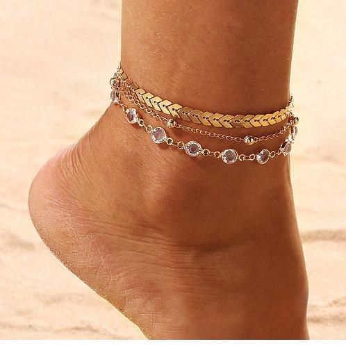 Boho Ankle Bracelet Zircon Multilayer Beads Anklet