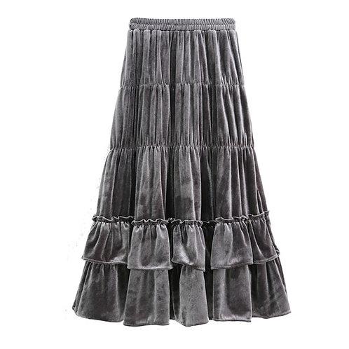 Autumn Winter New Velvet Tiered Long Skirts A-Line Drape