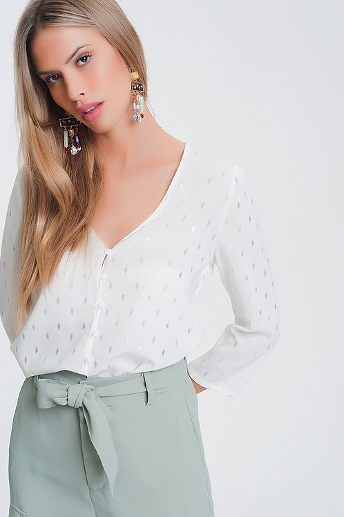 Blouse With v Neck in White Metallic Print
