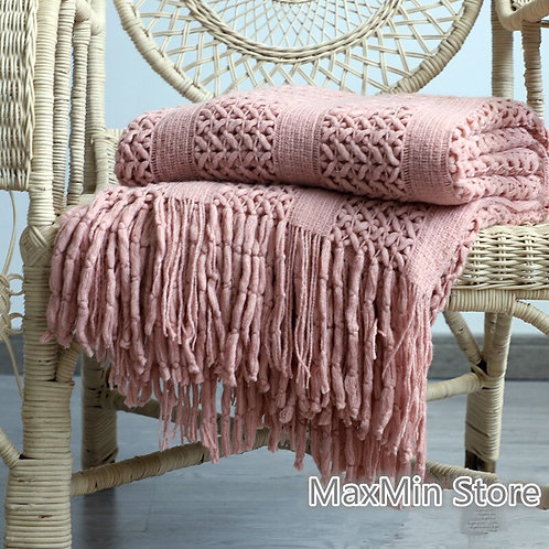 170X130cm Knitted Solid Sofa Throw Blanket