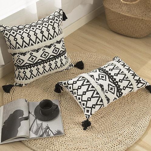 Black White Geometric Cushion Cover 45x45cm Sofa Bed Boho Style