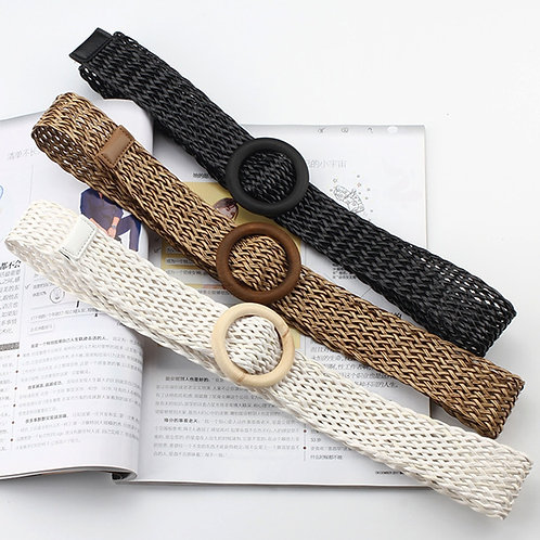 1Pc New Fashion Solid Belt With Round Wooden