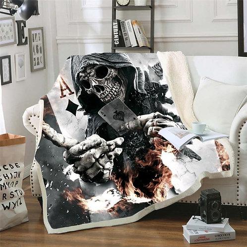 Bedding Outlet Skull Plush Blanket Sherpa Blanket