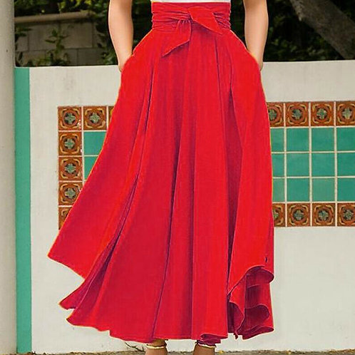 Autumn Winter Elegant High Waist Women Long Skirt