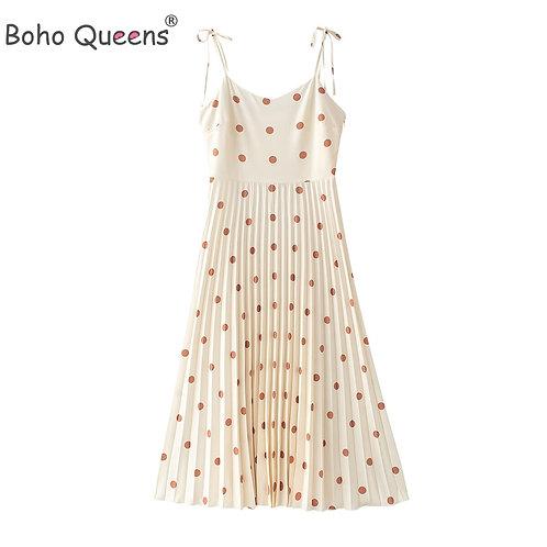 Boho Queens Women  Sleeveless Polka Dot  Beach Bohemian
