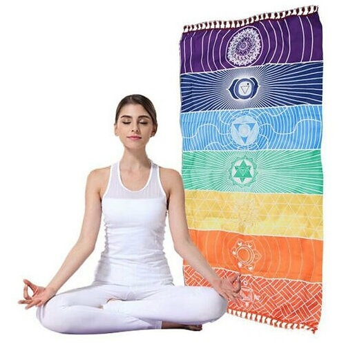 1Pcs Tassels Single Rainbow Chakra Tapestry Towel Mandala