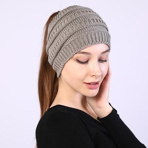 Autumn Winter Ponytail Beanie Hat Women Stretch Knitted Crochet Beanies Cap