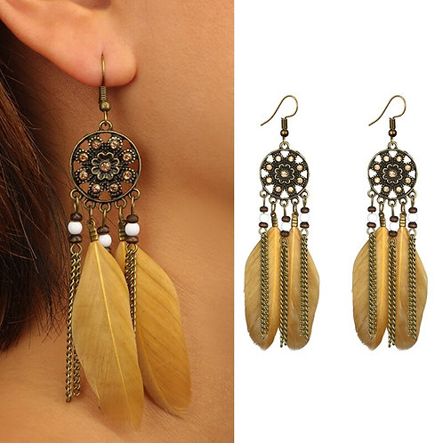 Boho Hollow Round Dream Catcher Feather Earrings