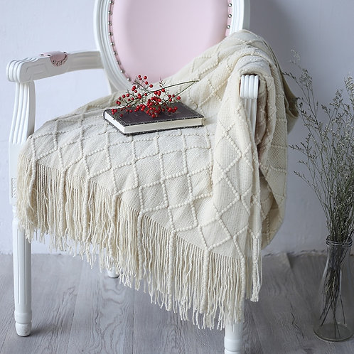 127X210cm Off White Nordic Knitted Throw Blanket