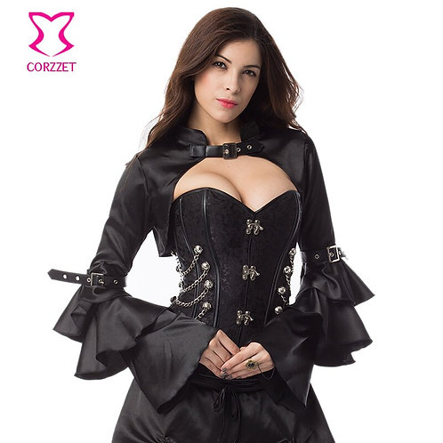 Black Satin Long Ruffle Butterfly Sleeve Sexy Burlesque  Jacket Steampunk