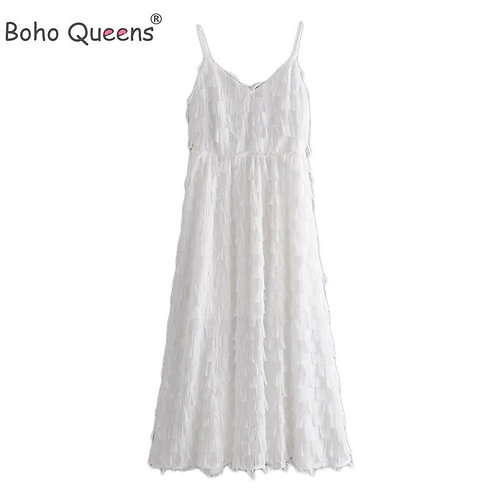 Boho Queens Women White Feather Tassel Sleeveless Strap