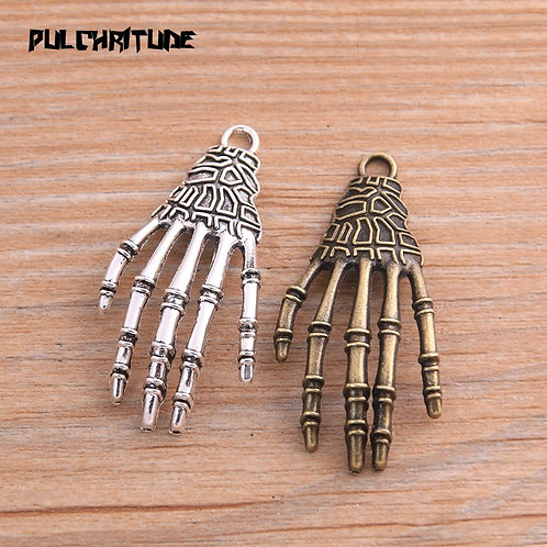 6pcs 21*43mm Two Color Skull Claw Charms