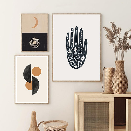 Abstract Geometric Shape Prints Sun Moon Hand Poster BohoDecor