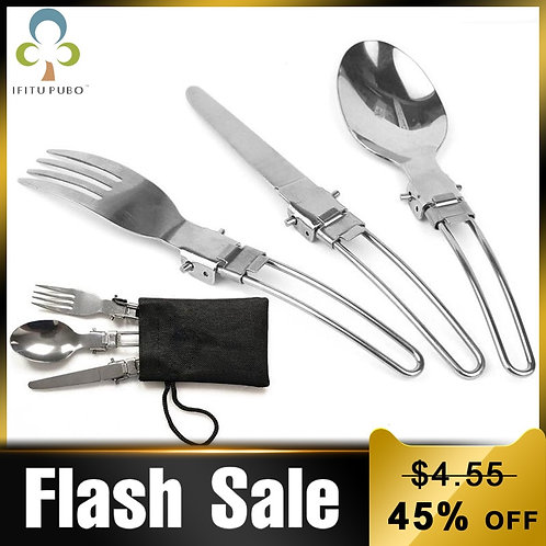 3pcs/Set Outdoor Stainless Steel Folded Fork Spoon Knife