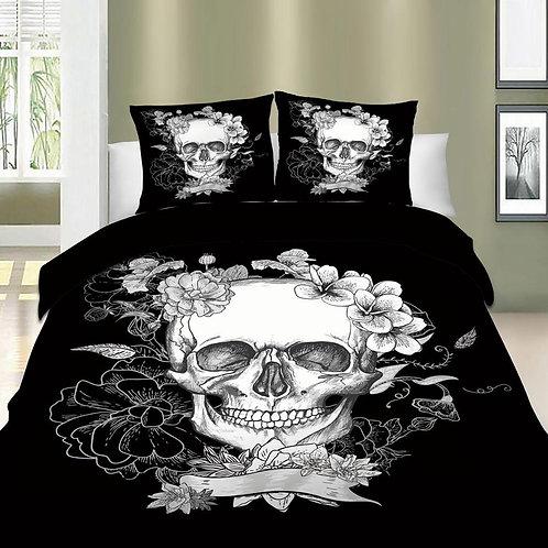 3D Skull Floral Bedding Sets Duvet Cover Queen King Size 3PCS