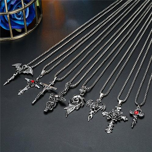 1PC Punk Vintage Metal Rose Cross Skeleton Necklace