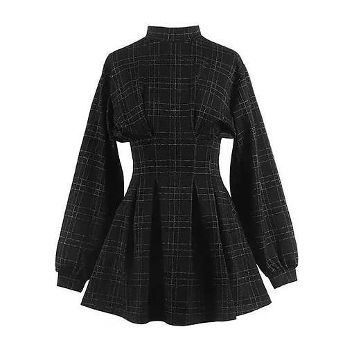 2021 Spring Women Vintage Mini Dress Long Sleeve Plaid