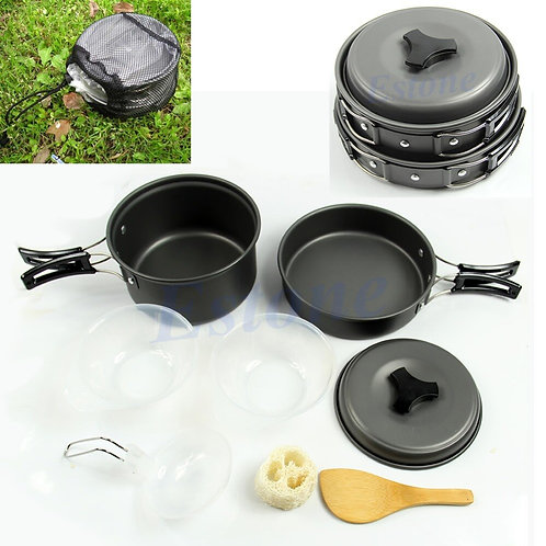 8Pcs Ptable Outdo Cooking Set Camping Hiking Cookware Picnic Bowl Pot Pan
