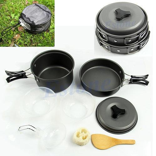 8Pcs Ptable Outdo Cooking Set Camping Hiking Cookware Picnic Bowl Pot Pan