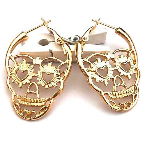 1 Pair New Steampunk Silver Color Skull Stud Earrings