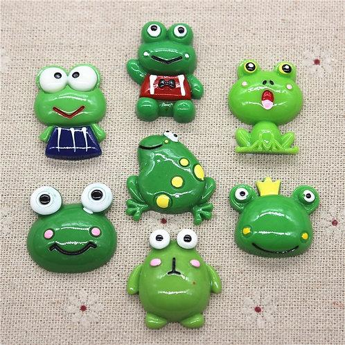 10pcs Kawaii Resin Cartoon Animal Frog Miniature