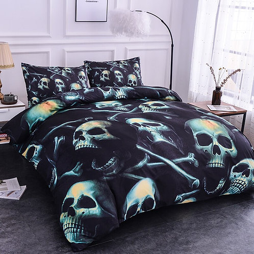 3D Digital Skull Printed Cotton Duvet Cover Set and Pillow Case