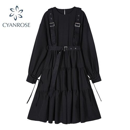 Autumn Vintage Elegant Women Dress Gothic Style Long Sleeve