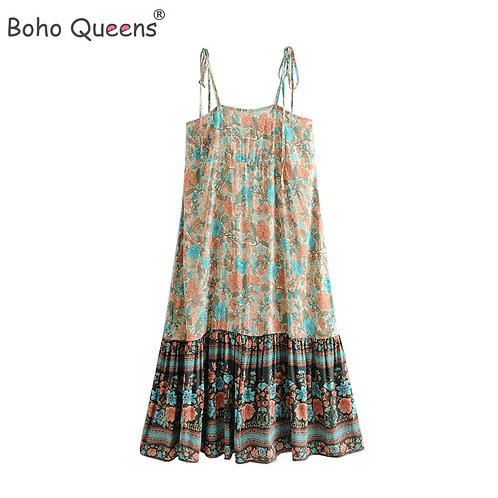 Boho Summer Vintage Floral Print Midi Strap Dress Women