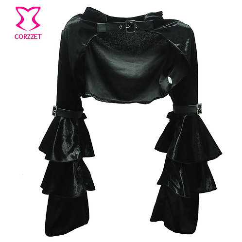 Black Long Butterfly Sleeve Velvet Gothic Coat Sexy Bolero Steampunk Jacket