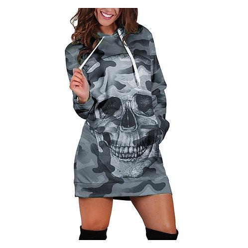 38# Women Dress Long Sleeve Casual Hooded