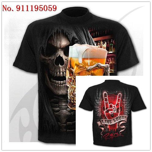 2020 New Skeleton 3D Printed T-Shirt M\