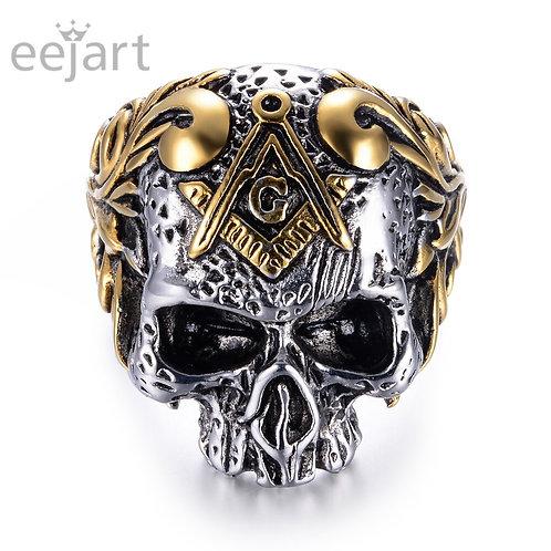 316L Stainless Steel Masonic Skull Ring I