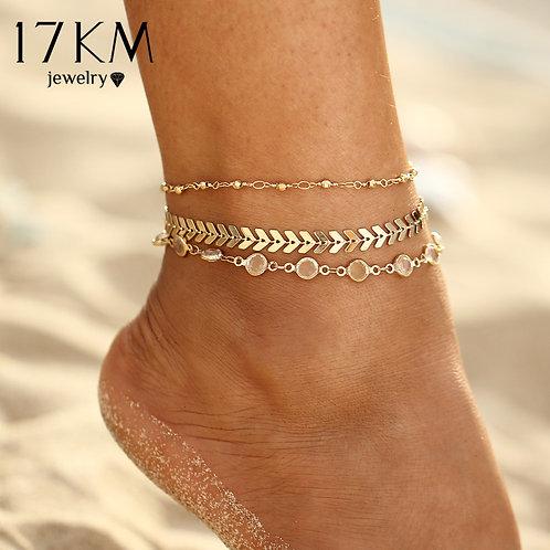 17KM Crystal Sequins Anklet Set