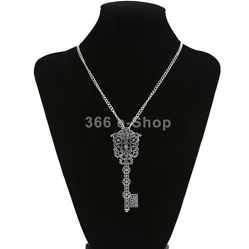 Vintage Antique  Steampunk Gear Key Pendant Necklace